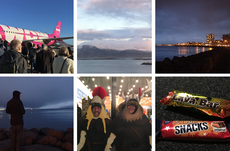 Day 1 Reykjavik, Wow air, views, night, chocolates