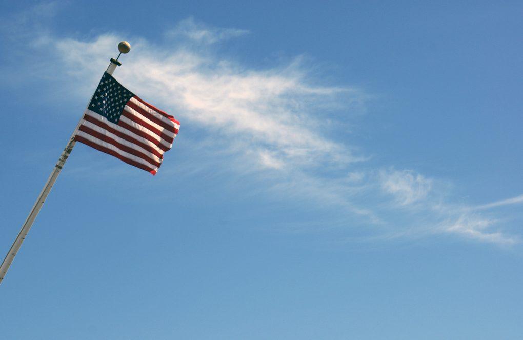 american flag in california