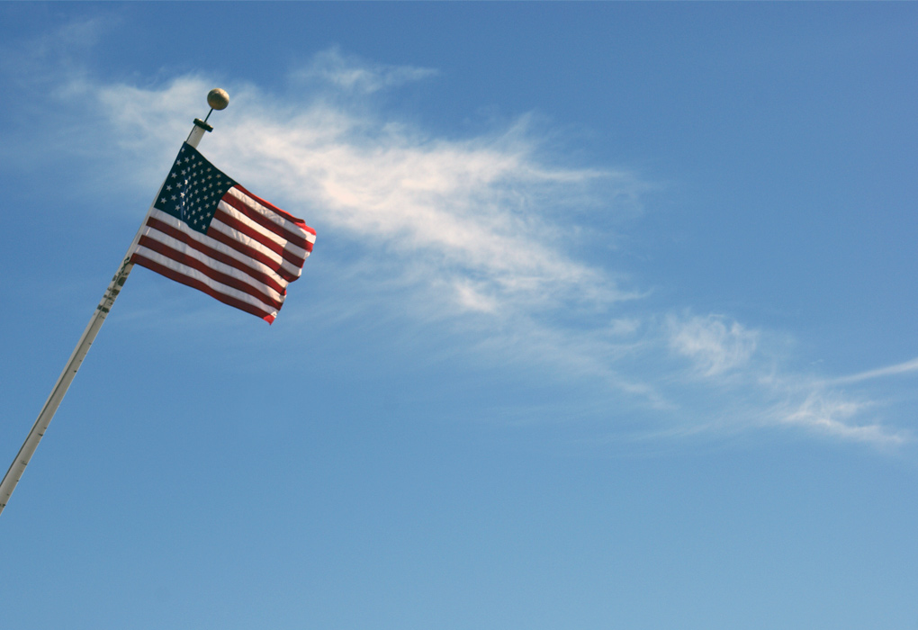 american flag in california